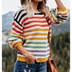 Travelers Rainbow Striped Cozy Knit Crew Sweater